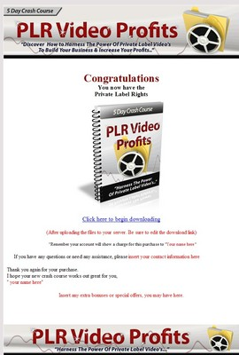 Product picture ***5 Day Crash Course PLR Video Profits (PLR)***
